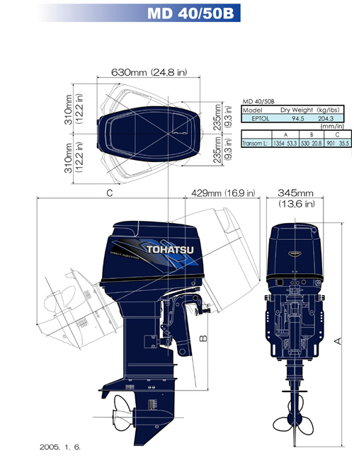 Tohatsu Md50b2 Tldi Outboard Motor 2016 For Sale